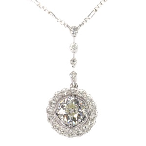 Platinum Art Deco diamond pendant on necklace