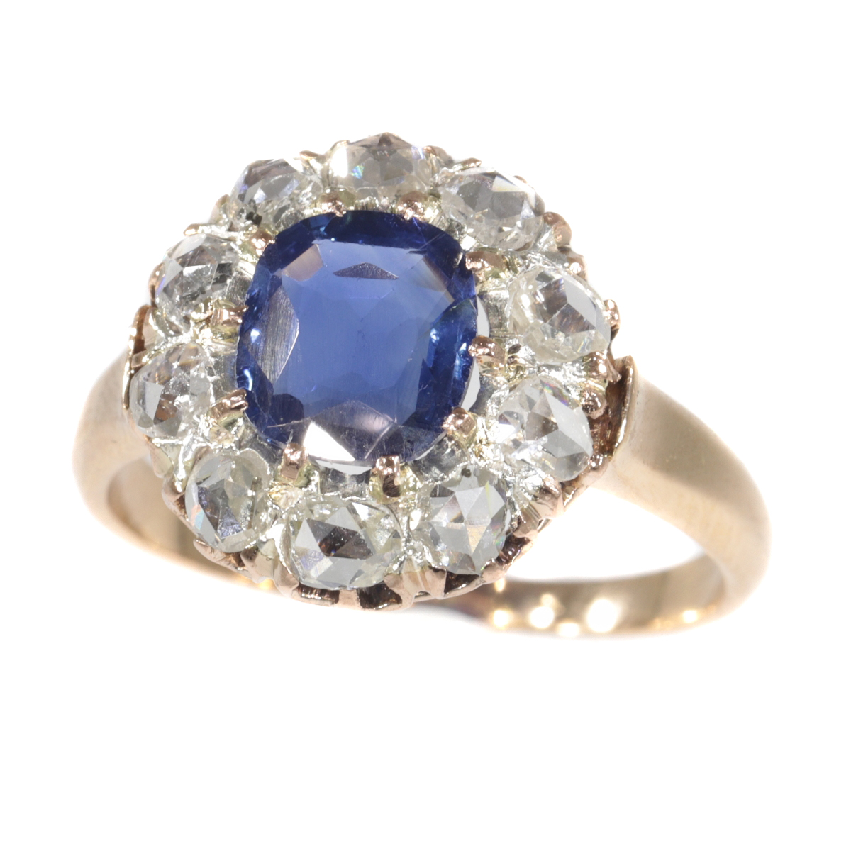 Victorian antique engagement ring with natural sapphire and ten rose cut diamonds