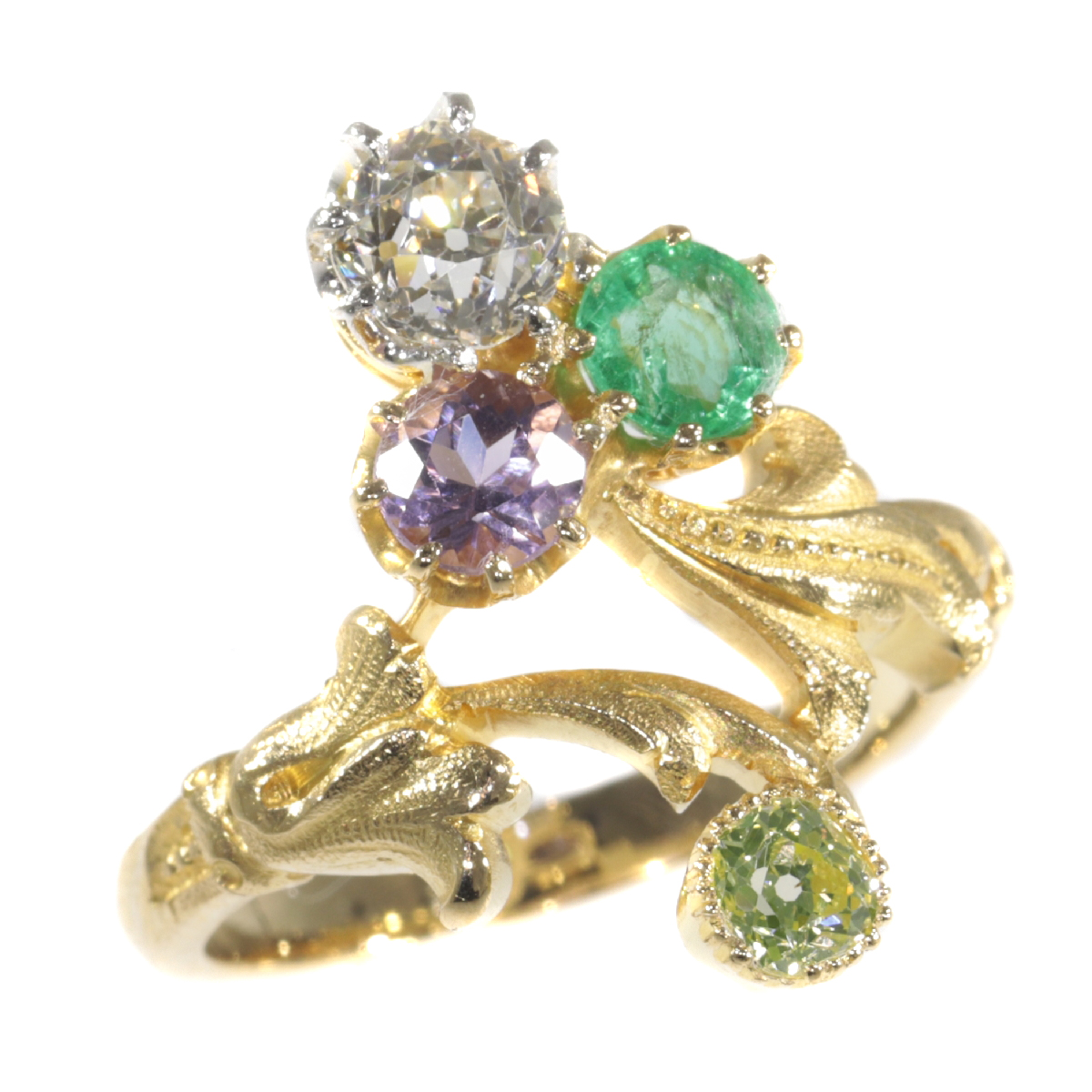 Antique ring typical so-called Suffragette diamond ring with precious stones