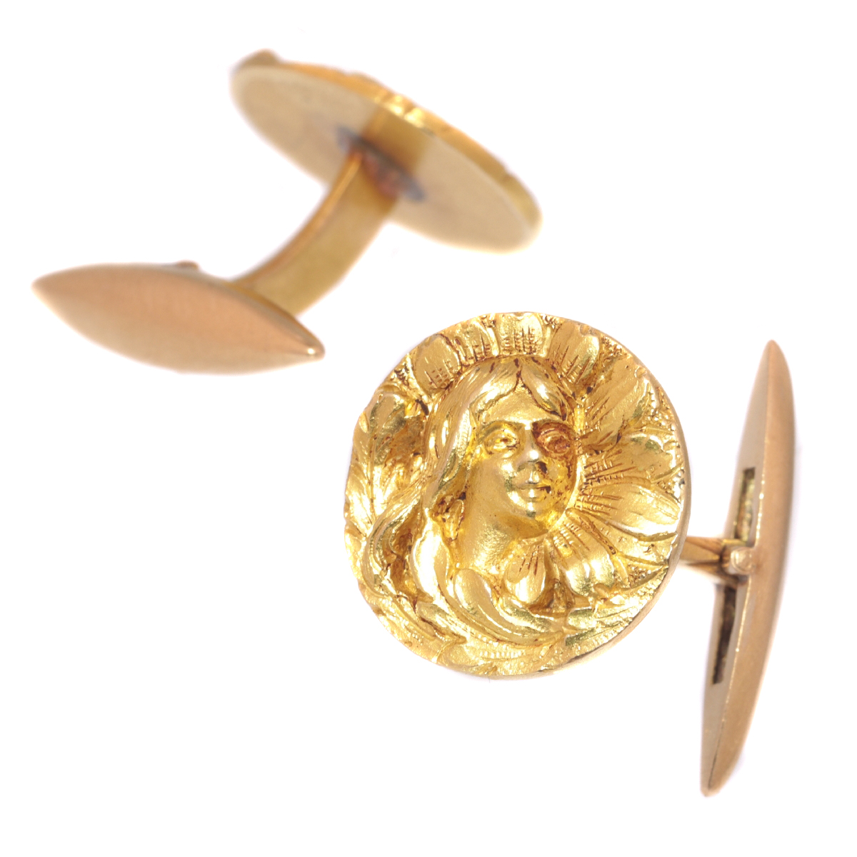 Art Nouveau 18K yellow gold cuff links