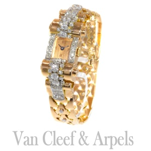 VCA Van Cleef and Arpels Vintage Retro gold diamond pink gold ladies watch