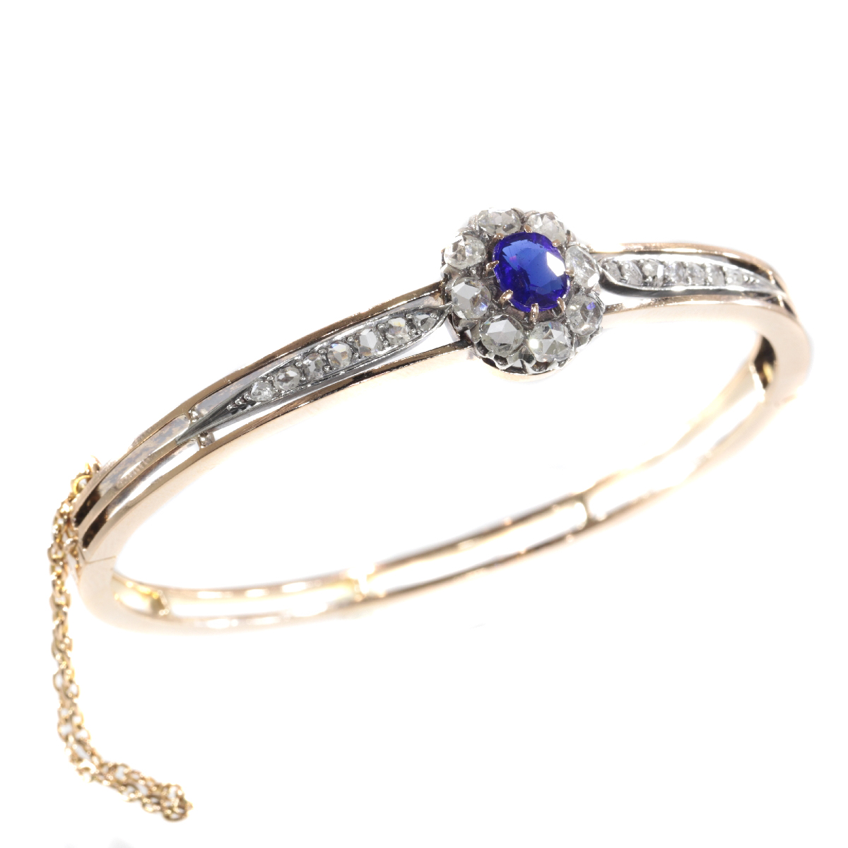 Antique Victorian gold bangle set with diamonds and blue strass
