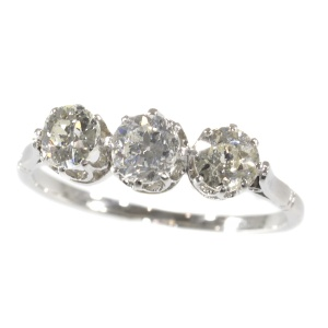 Art Deco Platinum 3-stone inline ring with diamonds