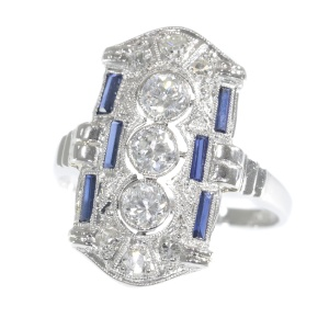 Platinum Art Deco diamond and sapphire engagement ring