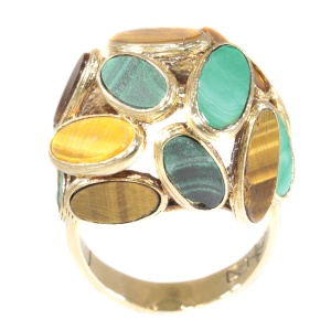 Vintage Sixties pop-art gold ring set with malachite and tiger eye