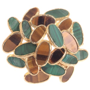 Vintage Sixties pop-art gold brooch set with malachite and tiger eye