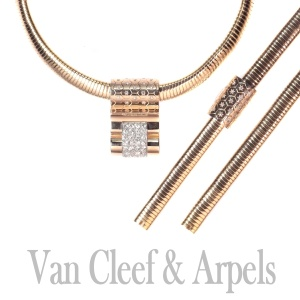 Van Cleef and Arpels gold and diamond parure matching necklace and bracelet VCA