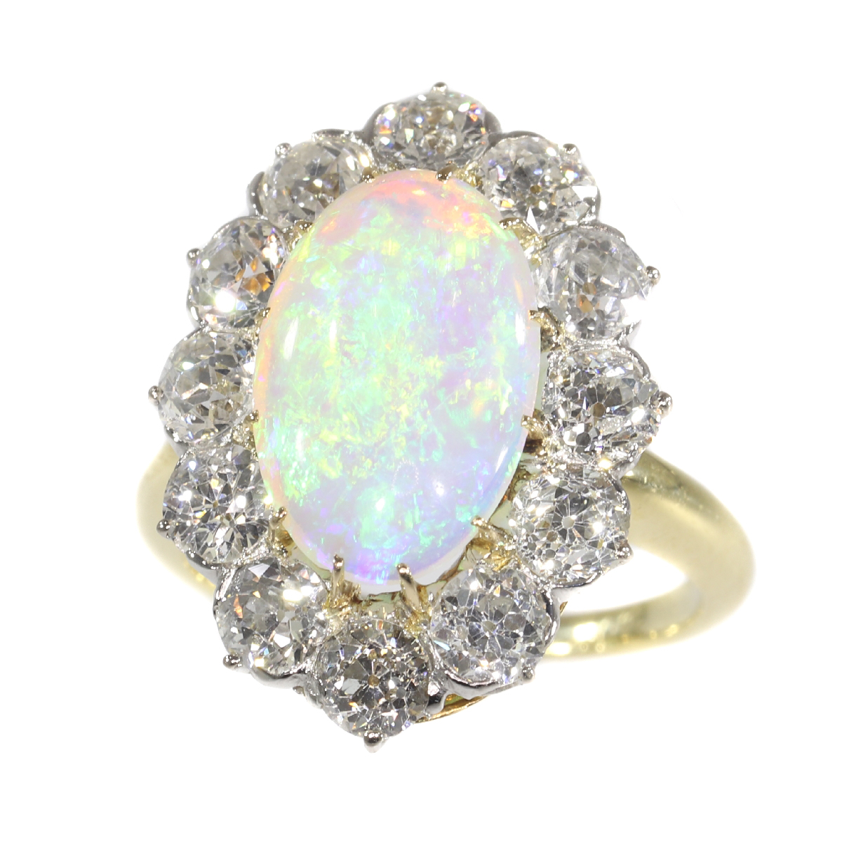 Antique Belle Epoque opal and diamonds ring can be changed into a pendant