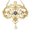 Late Victorian French gold pendant on chain with diamonds sapphires and pearls