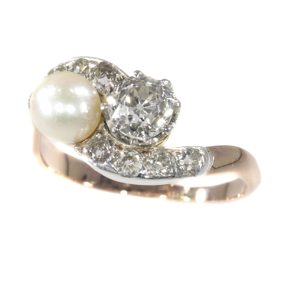 Victorian diamond and pearl engagement ring so-called romantic Toi et Moi
