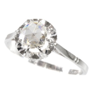 Vintage Art Deco platinum diamond engagement ring with large rose cut diamond