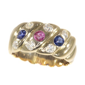 Antique 18K gold Victorian diamond sapphire and ruby ring