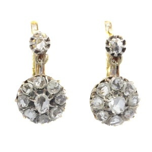 Vintage antique late Victorian rose cut diamond earrings