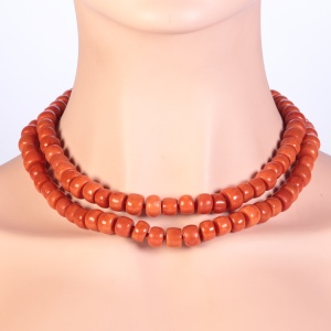Antique blood coral long necklace with thick beads