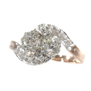 Belle Epoque romantic diamond toi et moi engagement ring - French for you and me