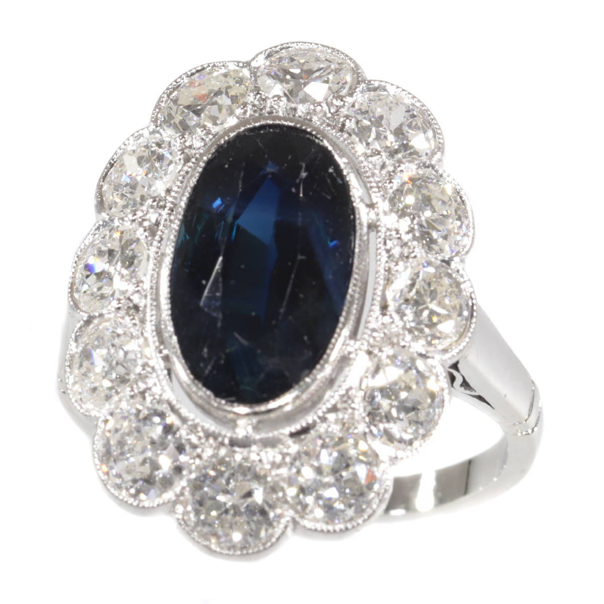 Vintage 1950's platinum diamond and sapphire engagement ring - lady Di style