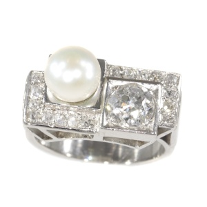 Vintage platinum diamond and pearl Art Deco ring