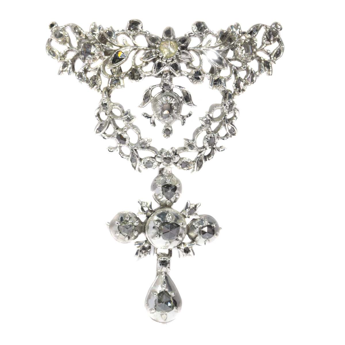 Antique Flemish cross pendant set with diamonds