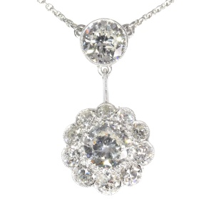 Large Art Deco diamond pendant with total 4.27 crt brilliant cut diamonds