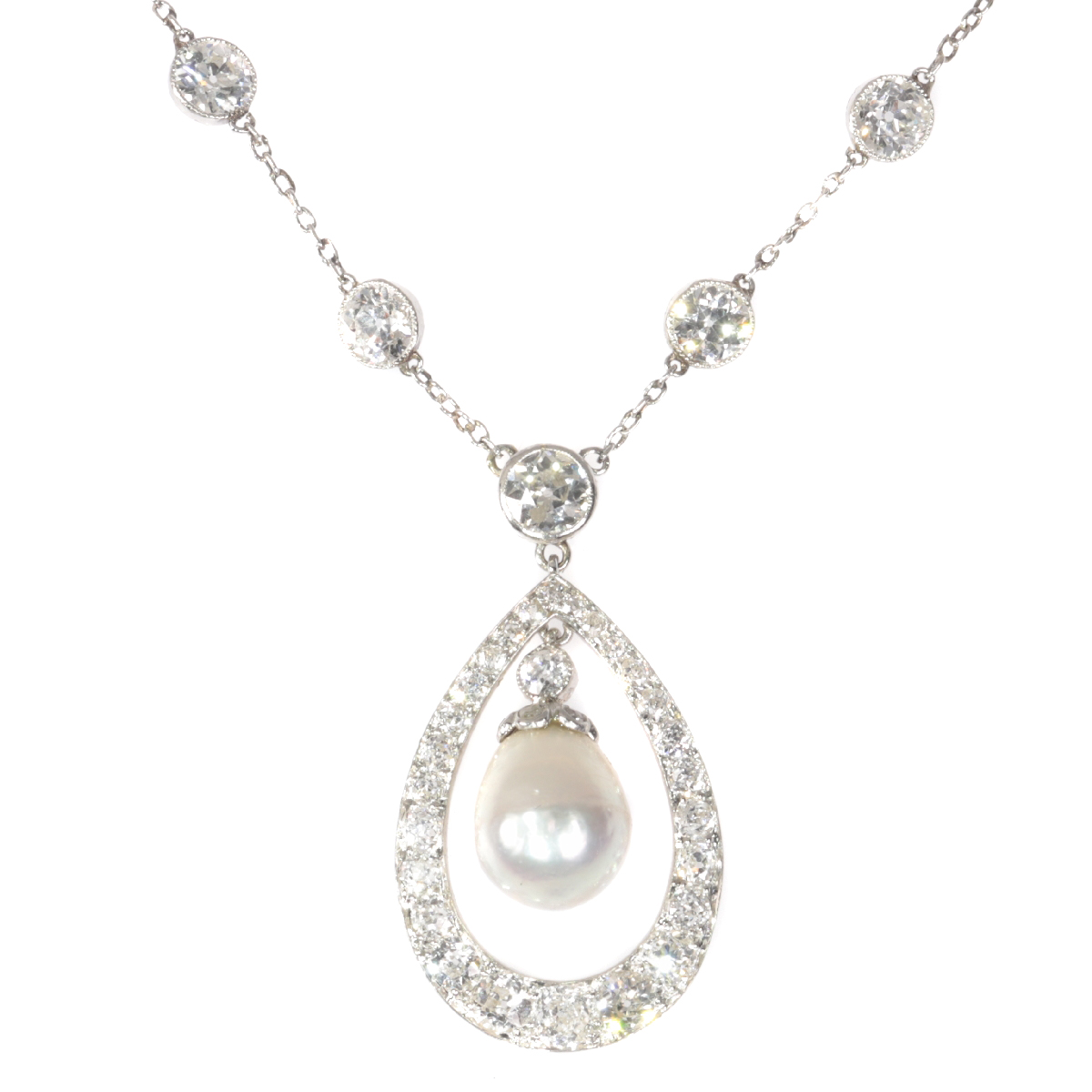 Platinum Art Deco diamond necklace with natural drop pearl of 7 crts