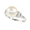 Vintage platinum diamond and pearl ring