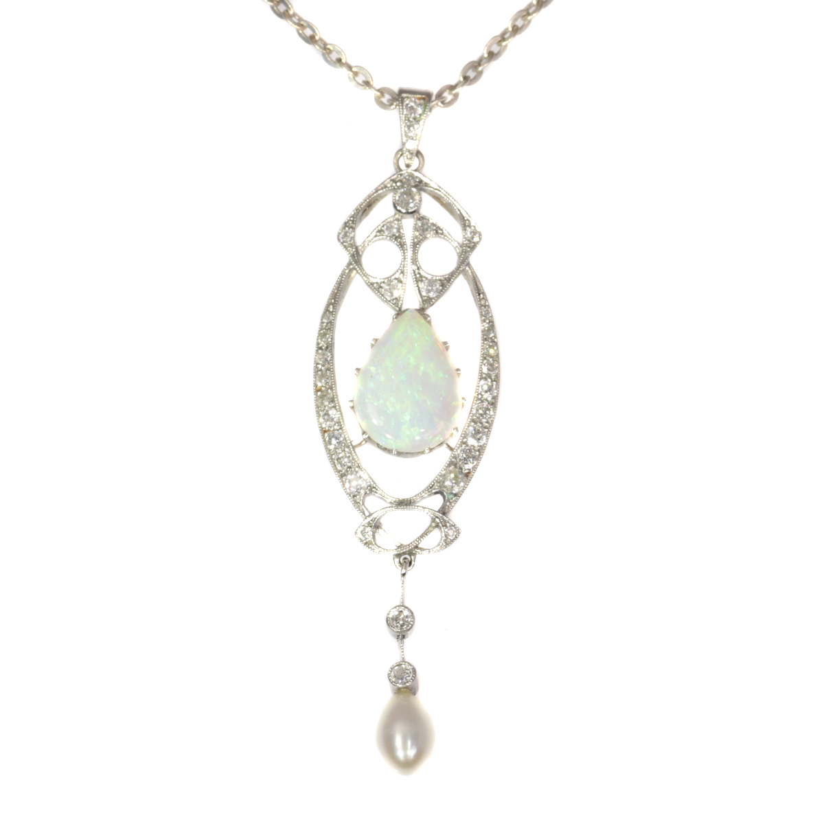 Vintage platinum Art Nouveau pendant with diamonds and large opal