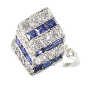 Vintage Art Deco ring diamonds and sapphires 18K white gold