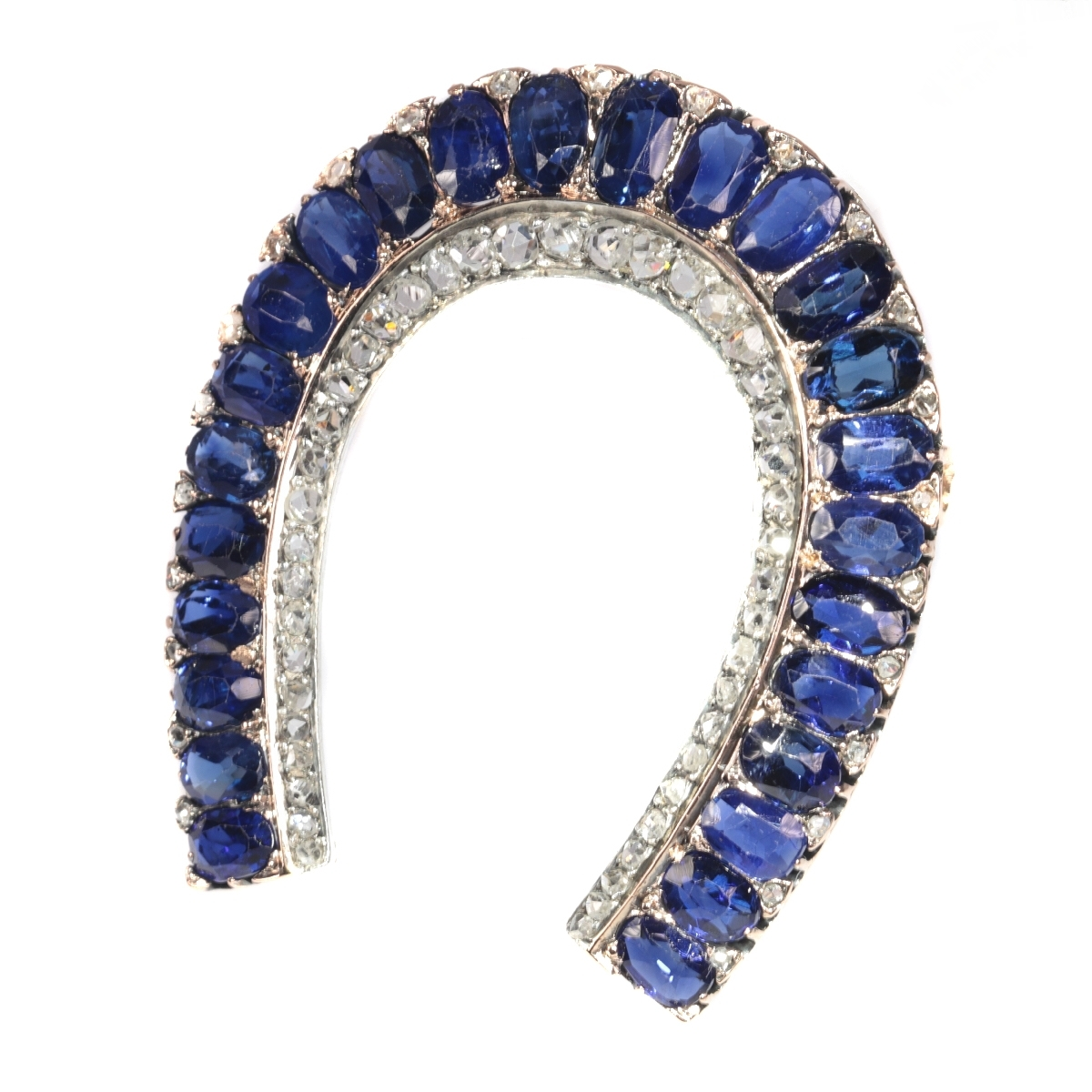 Antique Victorian brooch horse shoe with 67 diamonds and over 11 crts sapphires
