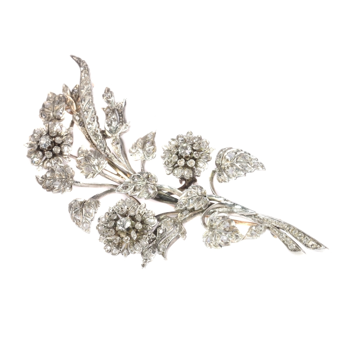 Antique French diamond branch brooch with 165 diamonds