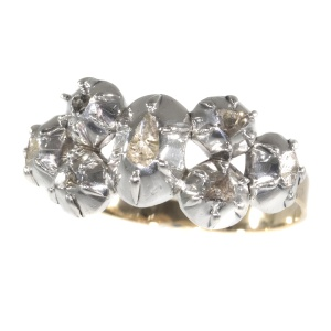 Antique ring with rose cut diamonds Victorian age
