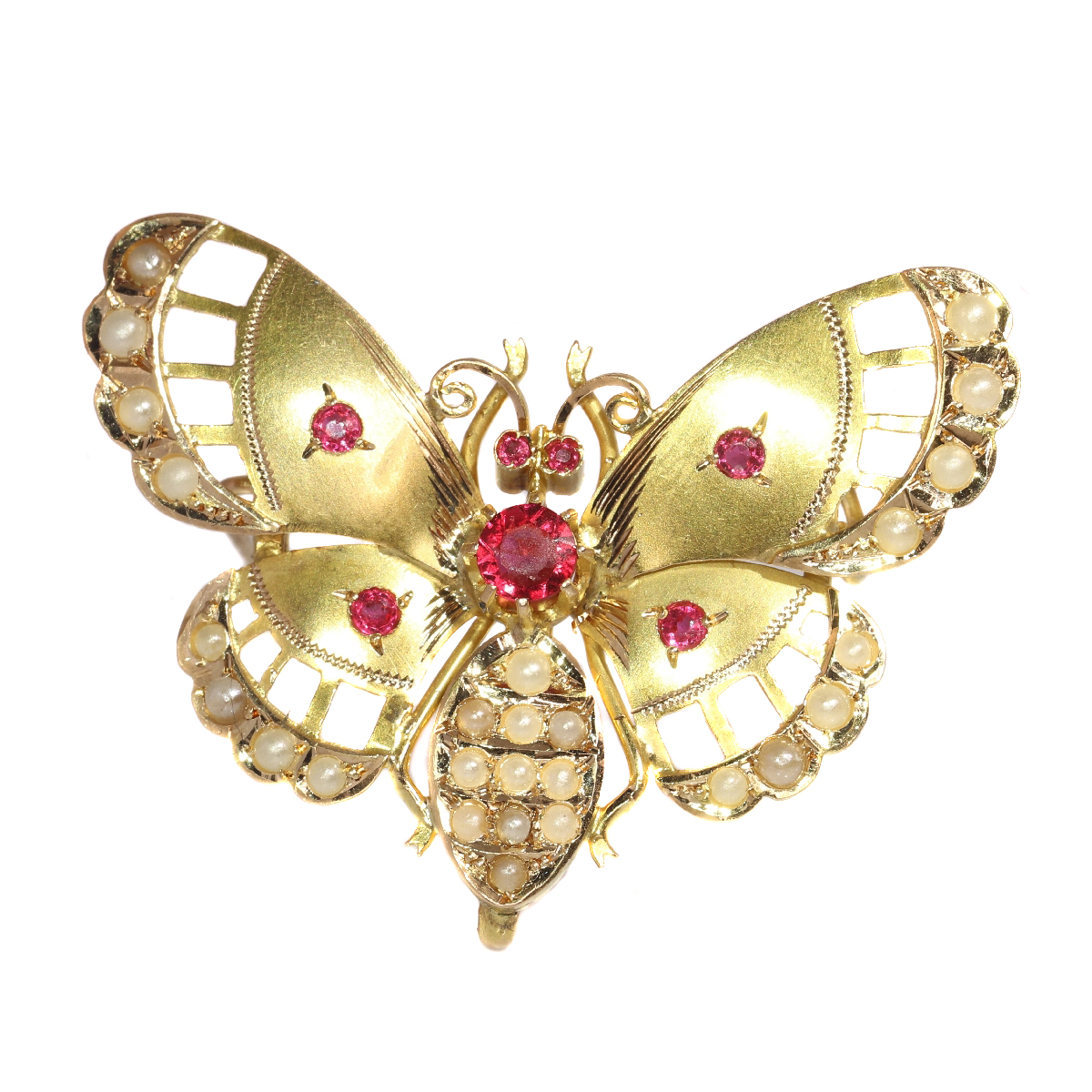 Late Victorian gold butterfly with red strass stones and half seed pearls
