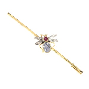 Vintage bar brooch with insect set with ruby, sapphire and rose cut diamonds