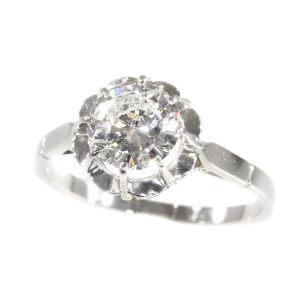 Vintage 1950`s brilliant engagement ring with certified D colour diamond