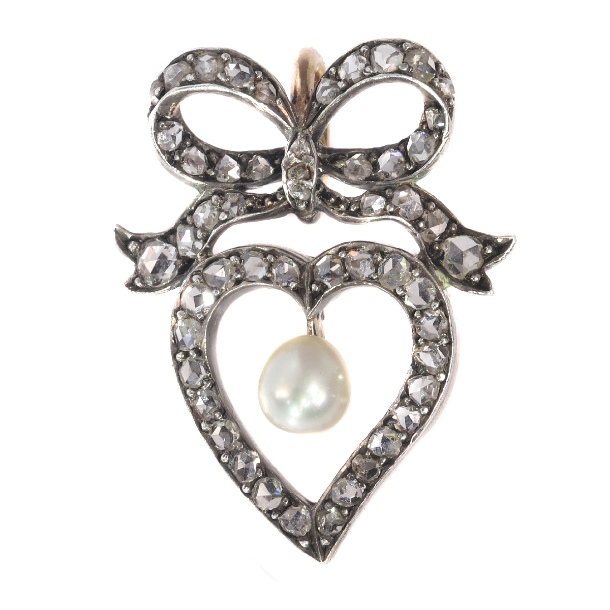 Antique Victorian diamond heart pendant