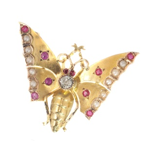 Antique gold Victorian butterfly brooch
