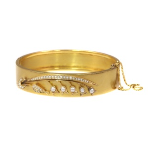 Antique gold bangle with lily of the valley motive