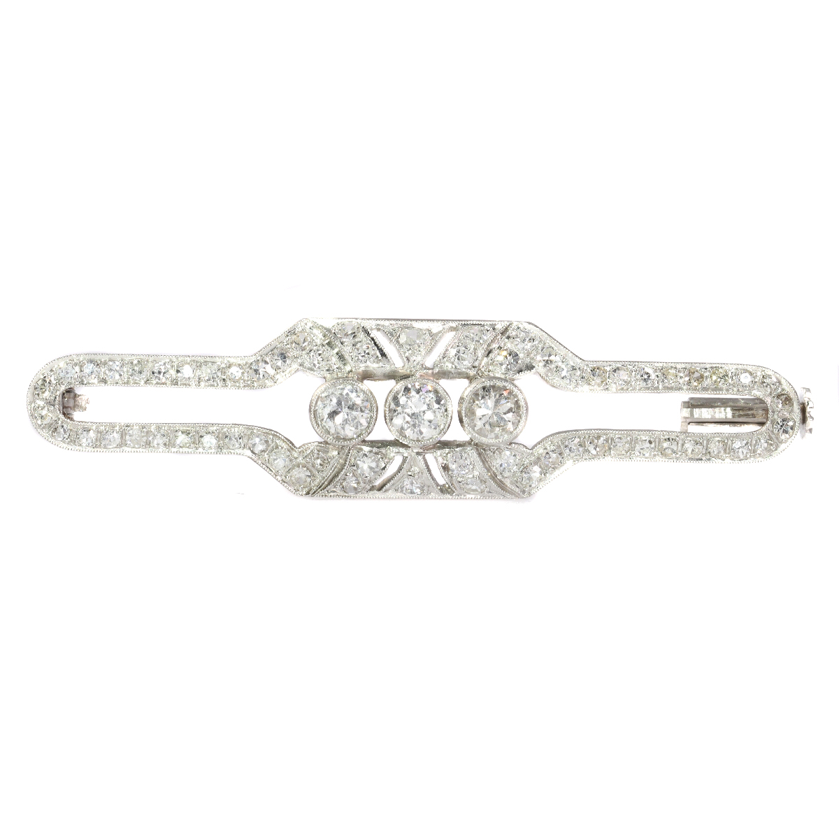 Vintage Art Deco platinum brooch set with diamonds