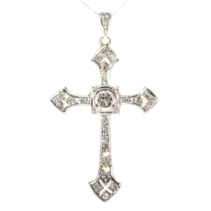 Art Deco diamond cross pendant