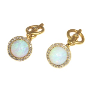 Late Victorian cufflinks 18K gold diamond and high domed opals