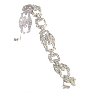 Authentic Art Deco platinum diamond bracelet 9.60 crt total diamond weight