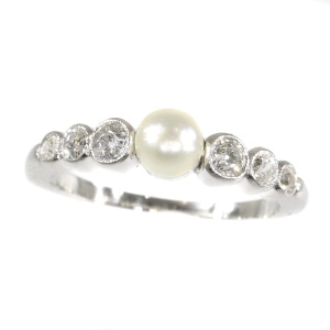 Art Deco diamond and pearl ring