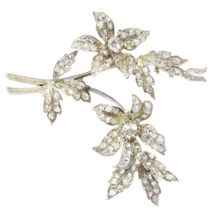 Antique diamond set trembleuse branch brooch