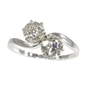 Vintage romantic diamond engagement ring a so-called toi et moi