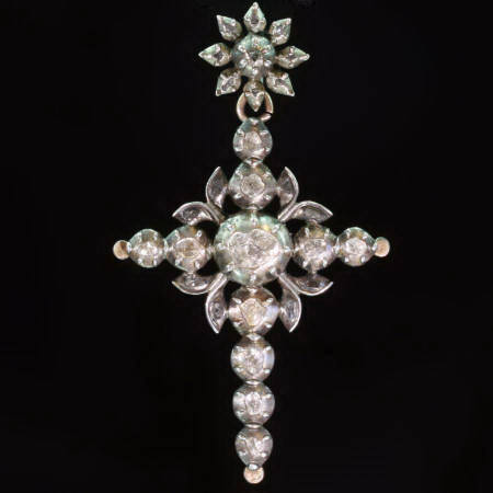 Antique jewelry Typical Victorian Flemish diamond cross gold ...