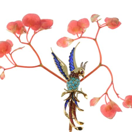 French Fifties bejeweled gold brooch bird of paradise with plique ajour enamel