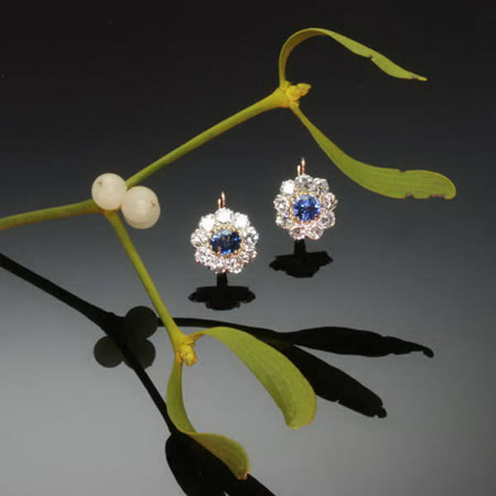 Estate cluster diamond sapphire lever back drop earrings