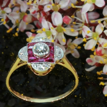 Ruby diamond Art Deco engagement ring yellow gold