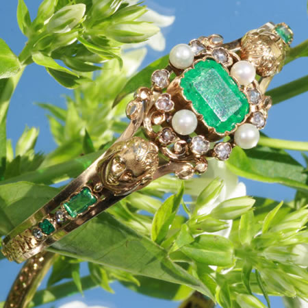 Victorian emerald pearl bangle Bapst Falize