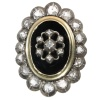 Biedermeier black enameled rose cut diamond mourning ring