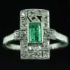 antique jewelry, estate jewelry and vintage jewelry by Adin, Antwerp: Art Deco platinum diamond engagement ring with emerald of exceptional quality